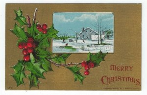 Vintage Christmas Greetings Postcard, A House in Winter, Holly & Berries, 1908