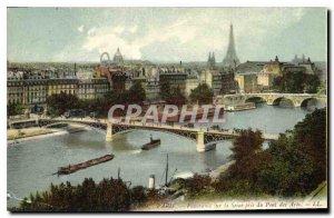 Old Postcard Panorama Paris on the Seine took the Pont des Arts Eiffel Tower