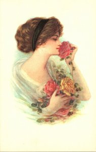Beautiful Lady With Roses