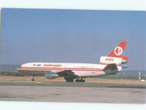 Pre-1980 Postcard Ad MALAYSIAN AIRLINES DC-10-30 AIRPLANE AC6261