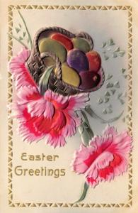 Easter~Colorful Metallic Eggs in Basket~Pink Red Carnation~Emboss~Airbrushed~MAB