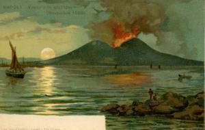 Italy - Napoli. Mt Vesuvio Erupting, November 1899
