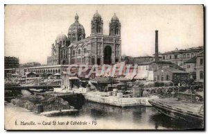 Postcard Old Marseilles Canal St Jean Cathedral and