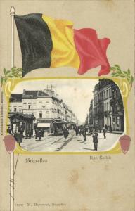 belgium, BRUXELLES BRUSSELS, Rue Gallait, Tram, Flag Postcard (1899)