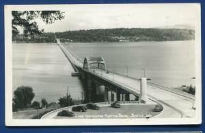 Lake Washington wa Seattle Floating Bridge real photo postcard RPPC