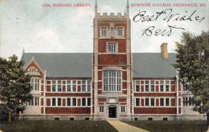 Brunswick Maine~Bowdoin College~General Hubbard Library~1908 Postcard