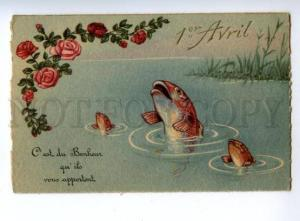146585 1st April FISH Fishing as SINGERS Roses Vintage colorPC