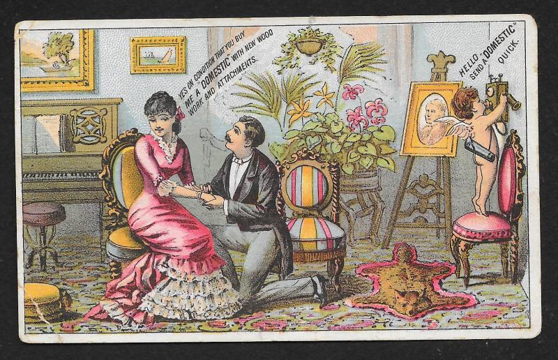 VICTORIAN TRADE CARD Domestic Sewing Co Man Asks Lady to Marry Him Cupid Phone
