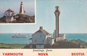 Old & New LIGHTHOUSE , Cape Forchu , YARMOUTH , Nova Scotia , Canada , PU-1967