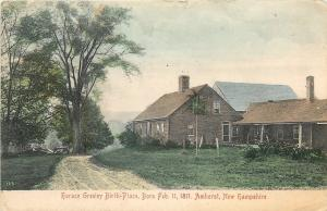 Amherst New Hampshire~Handcolored Horace Greeley Birth Place~Feb 11 1811~1907