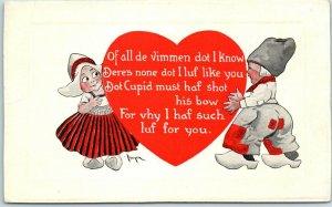 1910s Gibson VALENTINE'S DAY Postcard Artist-Signed BERGEN - Dutch Boy & Girl