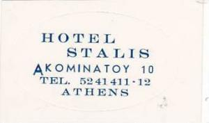 GREECE ATHENS HOTEL STALIS VINTAGE LUGGAGE LABEL