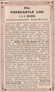 Military U S S Memphis Forecastle Log 12 August 1916