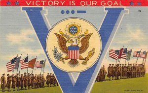Military Victory Linen Post Card Unused