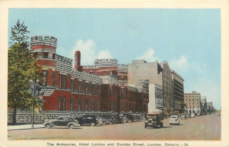 London Ontario~The Armories~Hotel on Dundas Street~1920-30s Cars~Postcard