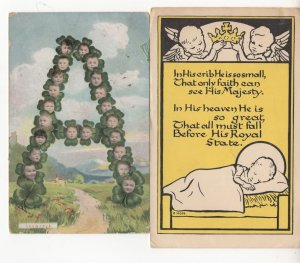 The Letter A Made Of Babies Heads & Poem 2x Old Baby Postcard s