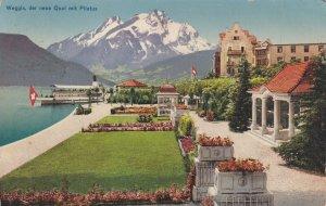SWITZERLAND, PU-1920; Weggis, Der Neue Quai Mit Pilatus