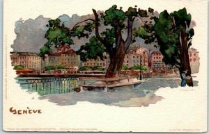 c1900s Geneva, Switzerland Postcard GENEVE Artist-Signed Street Scene UNUSED