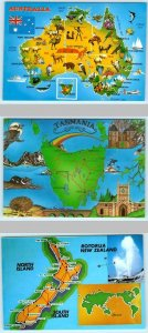 3 Map Postcards AUSTRALIA, TASMANIA, NEW ZEALAND Cool Graphics  4 x 6