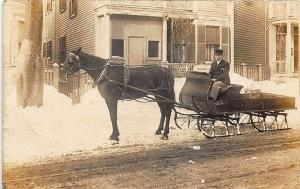 Boston MA Margeson & Howatt Delivery Horse Drawn Sleigh RPPC Postcard