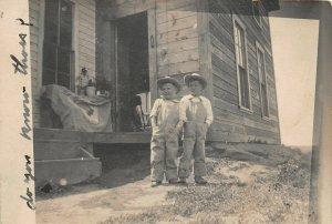 G2/ Interesting Real Photo RPPC Postcard c1910 Boys Overalls Cowboy Hat 13