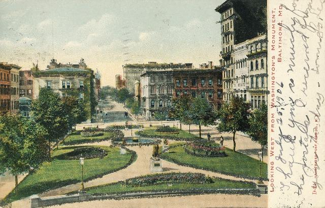 Baltimore MD Looking West From Washington's Monument 1906 Glitter Postcard UND