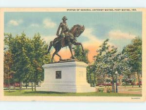 Unused Linen GENERAL ANTHONY WAYNE STATUE Fort Wayne Indiana IN F2118-13