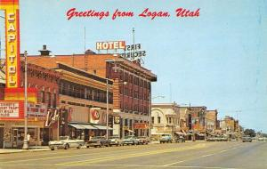 Logan Utah Greetings Main Street Vintage Postcard JA4742096