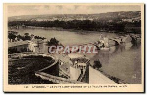 Avignon Old Postcard The famous Pont d'Avignon and the valley of the Rhone