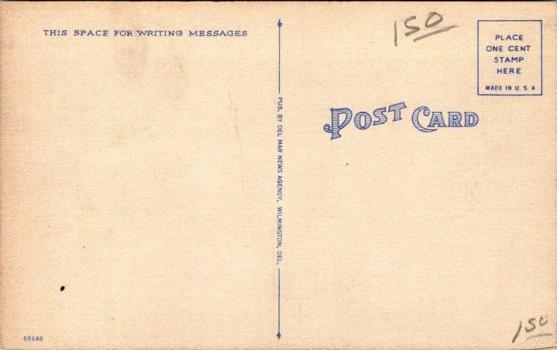 Vtg 1930s Old Ridgley House Dover Delaware DE Unused Linen Postcard