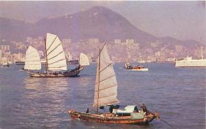 HONG KONG CHINA VIEW OF HARBOR IN FLIGHT WITH TWA AIRLINES POSTCARD 1960s