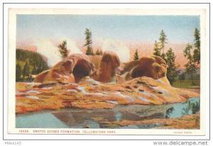 Yellowstone National Park Grotto Geyser J.E. Haynes VTG Postcard