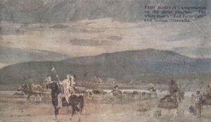 Indian Travaille & White Mans Red River Cart , Modes of Transportation , 00...
