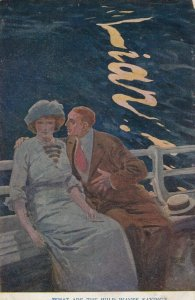 What are the wild waves saying? LIAR! Man leaning into woman, 1900-10s