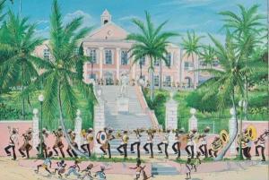 Bahamas Changing The Guard Tropical Police Policeband Postcard