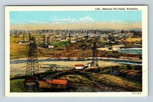 Midwest WY, Bird's-Eye View, Oil Fields Tanks Creek Vintage Wyoming Postcard