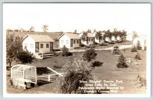 Sioux Falls South Dakota~Sioux Heights Tourist Park~Tiny Duplex Cabins~1930 RPPC