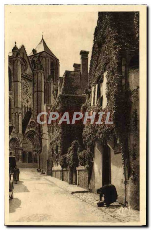Old Postcard Bourges Louis Statue XI work of Jean Baffier