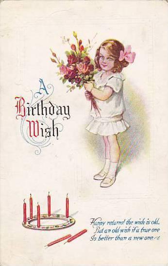 Girl Holding Flowers, A Birthday Wish, PU-1925