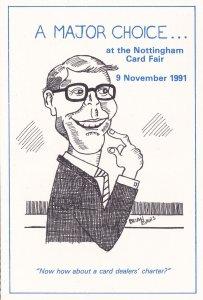 John Major Nottingham Card Fair 1992 Advertising Postcard