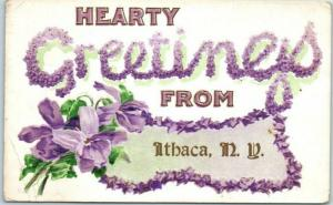Ithaca, New York Embossed Postcard GREETINGS Floral Large Letters w/ 1911 Cancel