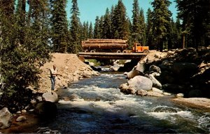California Northern Forest Scene Logging Truck and Fisherman