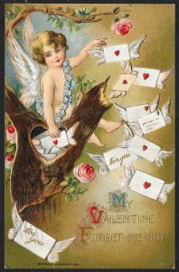 My Valentine Cupid Lots Of Letters & Tree Trunk Used c1910s