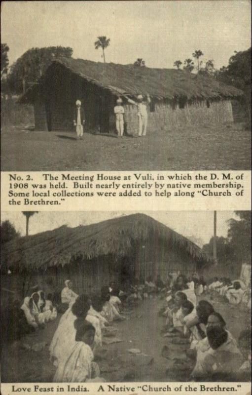 Meeting House at Vuli DM of 1908 - Love Feast in India c1910 Postcard