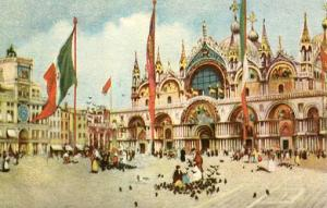 Italy - Venice, Basilica of St. Mark & Clock Tower  *Artist Signed: A. Scrocchi