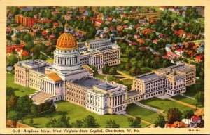 West Virginia Charleston Aerial View Of State Capitol 1942 Curteich