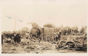 LP14 Dellvale Kansas RPPC  Postcard  Train Wreck 1910