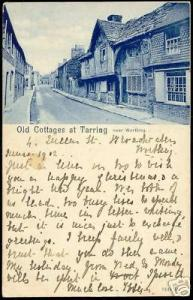 sussex, TARRING, Old Cottages (1902) Worthing cancel