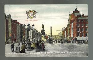 Mint Picture Postcard Ireland O'Connells Monument Street Coat of arms