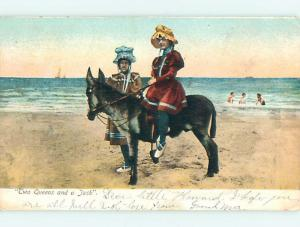 Pre-1907 TWO QUEENS & A JACK - JACKASS DONKEY r1527